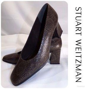 STUART WEITZMAN Brown Snakeskin Heels Sz 6.5B $398